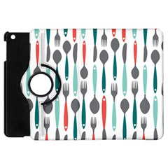 Spoon Fork Knife Pattern Apple Ipad Mini Flip 360 Case by Sapixe