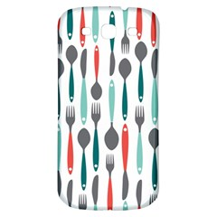 Spoon Fork Knife Pattern Samsung Galaxy S3 S Iii Classic Hardshell Back Case by Sapixe