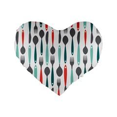 Spoon Fork Knife Pattern Standard 16  Premium Heart Shape Cushions by Sapixe