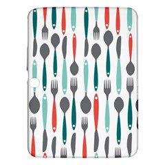 Spoon Fork Knife Pattern Samsung Galaxy Tab 3 (10 1 ) P5200 Hardshell Case  by Sapixe