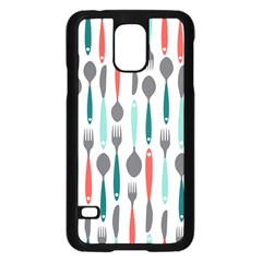 Spoon Fork Knife Pattern Samsung Galaxy S5 Case (black) by Sapixe