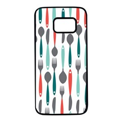 Spoon Fork Knife Pattern Samsung Galaxy S7 Black Seamless Case by Sapixe