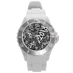 Panic At The Disco Lyric Quotes Retina Ready Round Plastic Sport Watch (l) by Samandel