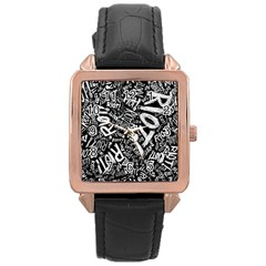 Panic At The Disco Lyric Quotes Retina Ready Rose Gold Leather Watch  by Samandel
