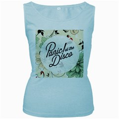 Panic At The Disco Beautifull Floral Women s Baby Blue Tank Top