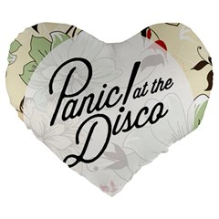 Panic At The Disco Beautifull Floral Large 19  Premium Flano Heart Shape Cushions by Samandel