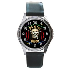 Panic At The Disco Poster Round Metal Watch