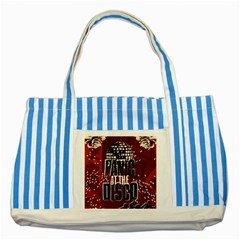 Panic At The Disco Poster Striped Blue Tote Bag by Samandel