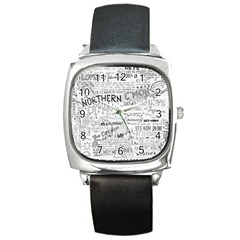 Panic At The Disco Lyrics Square Metal Watch