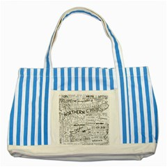 Panic At The Disco Lyrics Striped Blue Tote Bag by Samandel