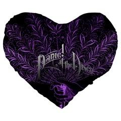 Panic At The Disco Large 19  Premium Flano Heart Shape Cushions by Samandel