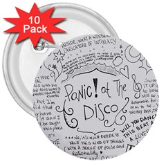 Panic! At The Disco Lyrics 3  Buttons (10 Pack)  by Samandel