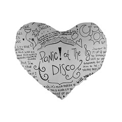 Panic! At The Disco Lyrics Standard 16  Premium Heart Shape Cushions by Samandel