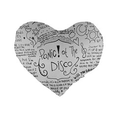 Panic! At The Disco Lyrics Standard 16  Premium Flano Heart Shape Cushions by Samandel
