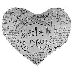 Panic! At The Disco Lyrics Large 19  Premium Flano Heart Shape Cushions