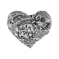 Panic! At The Disco Lyric Quotes Standard 16  Premium Flano Heart Shape Cushions by Samandel