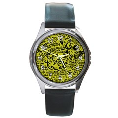 Panic! At The Disco Lyric Quotes Round Metal Watch by Samandel