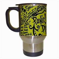 Panic! At The Disco Lyric Quotes Travel Mugs (white) by Samandel