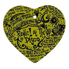 Panic! At The Disco Lyric Quotes Heart Ornament (two Sides)