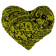 Panic! At The Disco Lyric Quotes Large 19  Premium Heart Shape Cushions by Samandel