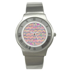 Zigzag Flower Of Life Pattern2 Stainless Steel Watch by Cveti