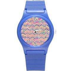 Zigzag Flower Of Life Pattern2 Round Plastic Sport Watch (s) by Cveti