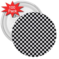 Checker Black And White 3  Buttons (100 Pack)  by jumpercat