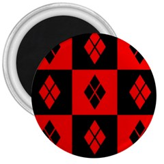 Red And Black Pattern 3  Magnets