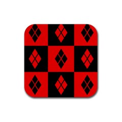 Red And Black Pattern Rubber Coaster (square)