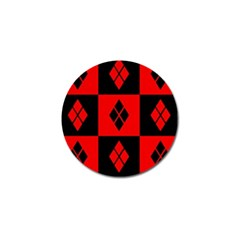 Red And Black Pattern Golf Ball Marker (4 Pack)