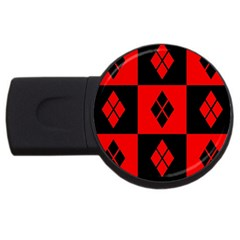 Red And Black Pattern Usb Flash Drive Round (2 Gb)