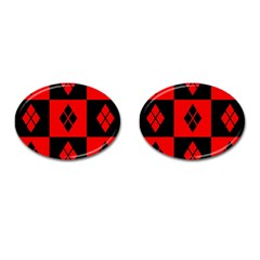 Red And Black Pattern Cufflinks (oval)