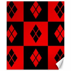 Red And Black Pattern Canvas 8  X 10