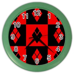 Red And Black Pattern Color Wall Clocks