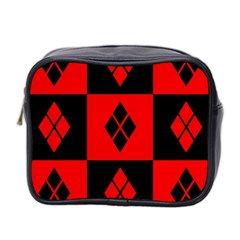Red And Black Pattern Mini Toiletries Bag 2 Side