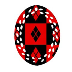 Red And Black Pattern Oval Filigree Ornament (two Sides)