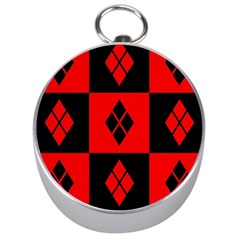 Red And Black Pattern Silver Compasses