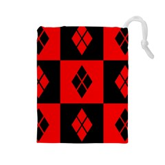 Red And Black Pattern Drawstring Pouches (large)