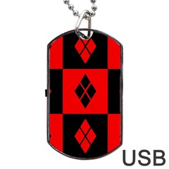 Harley Quinn Pattern Dog Tag Usb Flash (one Side)