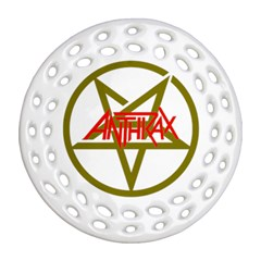 Anthrax Band Logo Round Filigree Ornament (two Sides) by Samandel