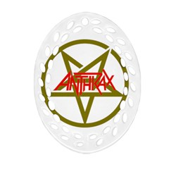 Anthrax Band Logo Oval Filigree Ornament (two Sides)