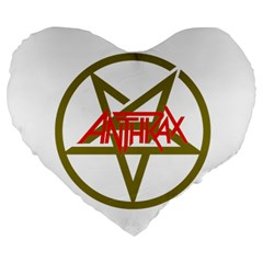 Anthrax Band Logo Large 19  Premium Flano Heart Shape Cushions