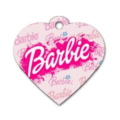 Barbie Pattern Dog Tag Heart (two Sides)