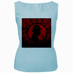 Book Cover For Sherlock Holmes And The Servants Of Hell Women s Baby Blue Tank Top
