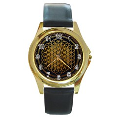 Tree Of Live Pattern Round Gold Metal Watch by Samandel