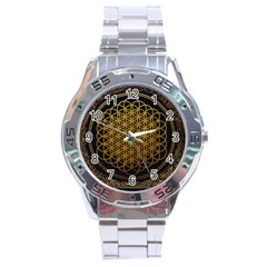 Tree Of Live Pattern Stainless Steel Analogue Watch