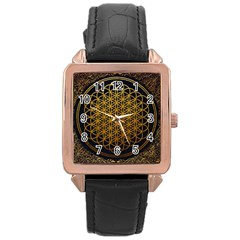 Tree Of Live Pattern Rose Gold Leather Watch  by Samandel