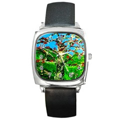 Coral Tree 2 Square Metal Watch
