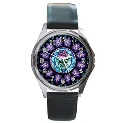 Cathedral Rosette Stained Glass Round Metal Watch