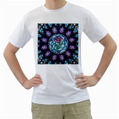 Cathedral Rosette Stained Glass Men s T Shirt (white) (two Sided)